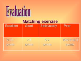 Matching exercise Excellent 	 Good	 Satisfactory 	 Poor 9-10 points	 7-8 poi