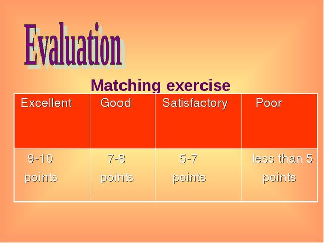 Matching exercise Excellent 	 Good	 Satisfactory 	 Poor 9-10 points	 7-8 poi...