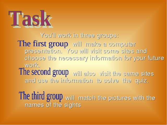 You'll work in three groups: will make a computer presentation. You will vis...