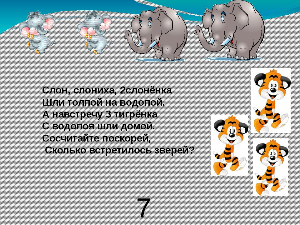 Слон, слониха, 2слонёнка Шли толпой на водопой. А навстречу 3 тигрёнка С водо...