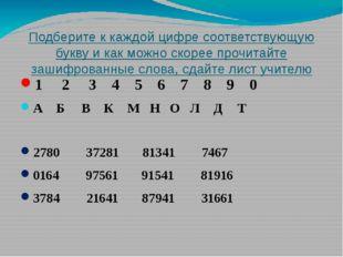 Подберите к каждой цифре соответствующую букву и как можно скорее прочитайте