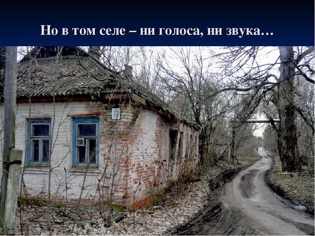 Но в том селе – ни голоса, ни звука…