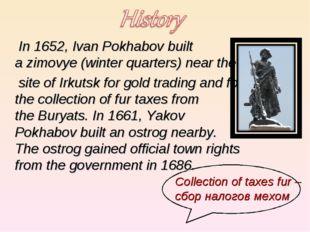In 1652, Ivan Pokhabov built azimovye(winter quarters) near the
