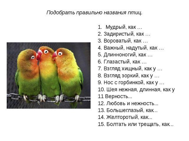 Подобрать правильно названия птиц. Мудрый, как … 2. Задиристый, как … 3. Воро...