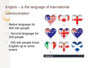 English – is the language of international communication Native language for