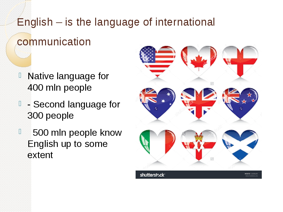 English – is the language of international communication Native language for...