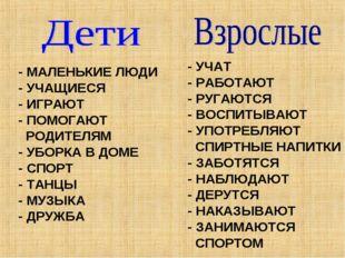 - УЧАТ - РАБОТАЮТ - РУГАЮТСЯ - ВОСПИТЫВАЮТ - УПОТРЕБЛЯЮТ СПИРТНЫЕ НАПИТКИ - З