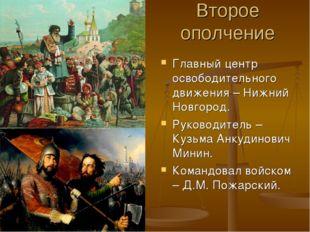 Второе ополчение Главный центр освободительного движения – Нижний Новгород. Р