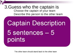 3.Guess who the captain is Choose the captain of your team Describe this pers