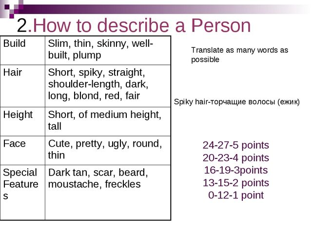 2.How to describe a Person Spiky hair-торчащие волосы (ежик) Translate as man...