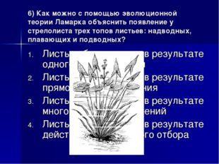 6) Как можно с помощью эволюционной теории Ламарка объяснить появление у стре