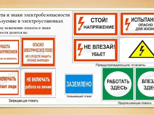 Плакаты и знаки электробезопасности используемые в электроустановках По своем...