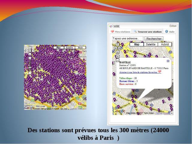 Des stations sont prévues tous les300mètres (24000 vélibs à Paris )