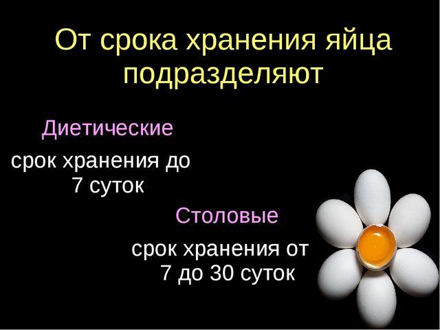 От срока хранения яйца подразделяют Диетические срок хранения до 7 суток Стол...