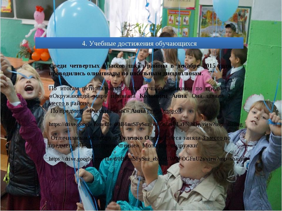 4. Учебные достижения обучающихся Среди четвертых классов школ района в декаб...
