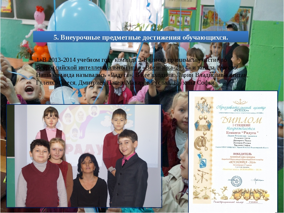 1. В 2013-2014 учебном году команда 2-Б класса принимала участие во Всеросси...