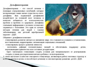 Дельфинотерапия Дельфинотерапия – это способ лечения с помощью ультразвуковых