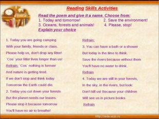 Reading Skills Activities 1. Today you are going camping With your family, f