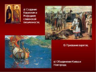 а) Создание Кириллом и Мефодием славянской письменности; б) Призвание варягов