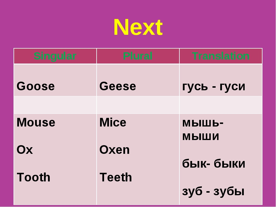 Next Singular	Plural	Translation Goose	 Geese	 гусь - гуси 		 Mouse Ox Tooth...