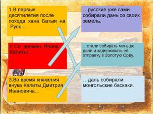 1.В первые десятилетия после похода хана Батыя на Русь… 2.Со времён ИванаКал