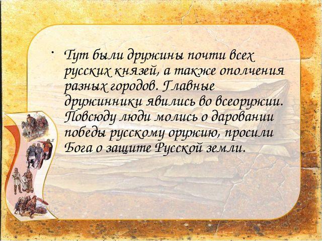 Тут были дружины почти всех русских князей, а также ополчения разных городов....