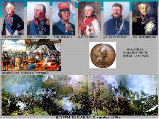ШТУРМ ИЗМАИЛА 11 декабря 1790 г. А.В. СУВОРОВ М.И. КУТУЗОВ М.И. ПЛАТОВ А.А. Г