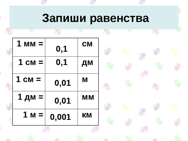Запиши равенства 0,1 0,1 0,001 0,01 0,01 1 мм = см 1 см = дм 1 см =  м...