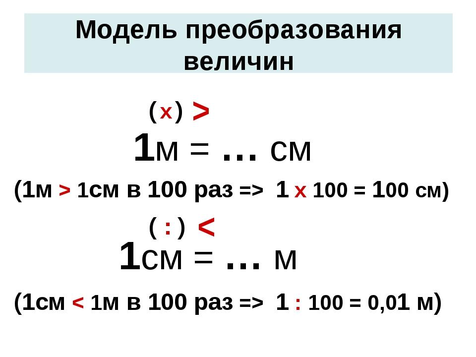 1м = … см 1см = … м ^ ^ ( : ) ( х ) Модель преобразования величин (1м > 1см...