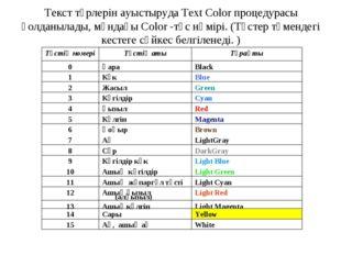 Текст түрлерін ауыстыруда Text Color процедурасы қолданылады, мұндағы Color -