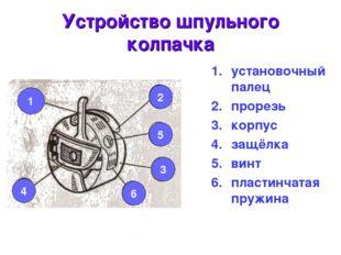 Устройство шпульного колпачка установочный палец прорезь корпус защёлка винт