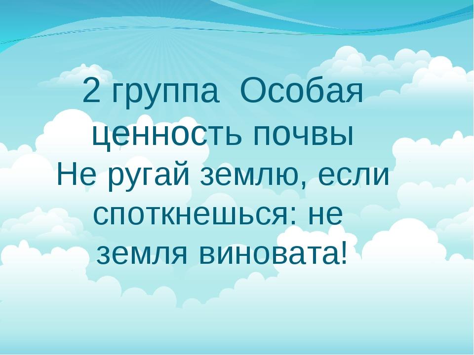 2 группа Особая ценность почвы Не ругай землю, если споткнешься: не земля ви...