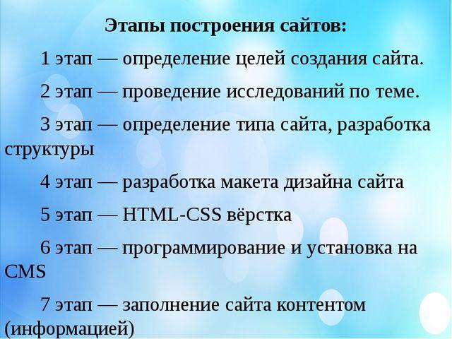 Этапы построения сайтов: 1 этап — определение целей создания сайта. 2 этап —...