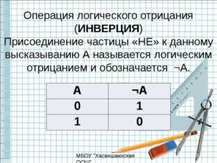 Операция логического отрицания (ИНВЕРЦИЯ) Присоединение частицы «НЕ» к данном