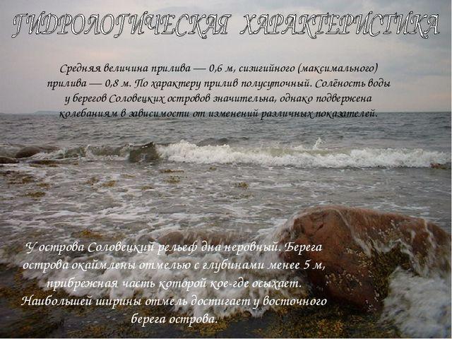 У острова Соловецкий рельеф дна неровный. Берега острова окаймлены отмелью с...