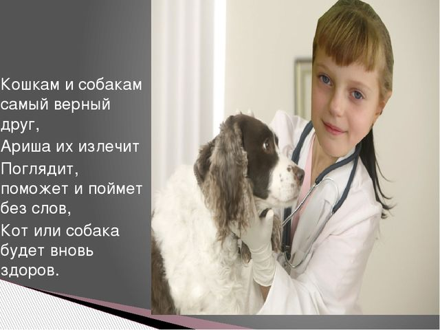 Кошкам и собакам самый верный друг, Ариша их излечит Поглядит, поможет и пойм...