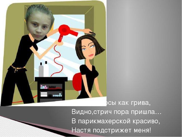 Стали волосы как грива, Видно,стрич пора пришла… В парикмахерской красиво, На...