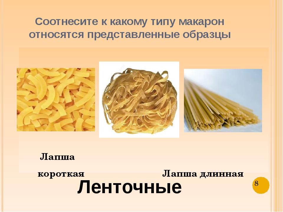 Соотнесите к какому типу макарон относятся представленные образцы Лапша корот...