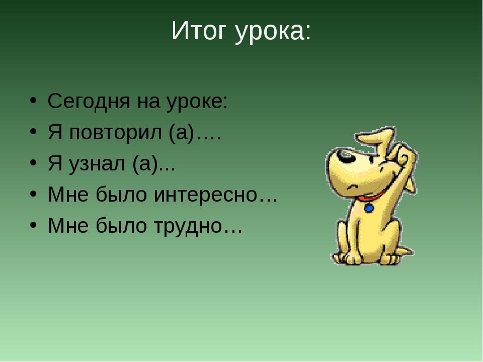 Итог урока: Сегодня на уроке: Я повторил (а)…. Я узнал (а)... Мне было интере...