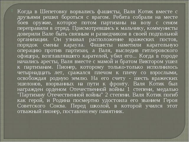 Когда в Шепетовку ворвались фашисты, Валя Котик вместе с друзьями решил борот...