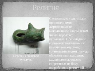 Религия Святилища с культовыми приношениями; жертвенники на могильниках; клад