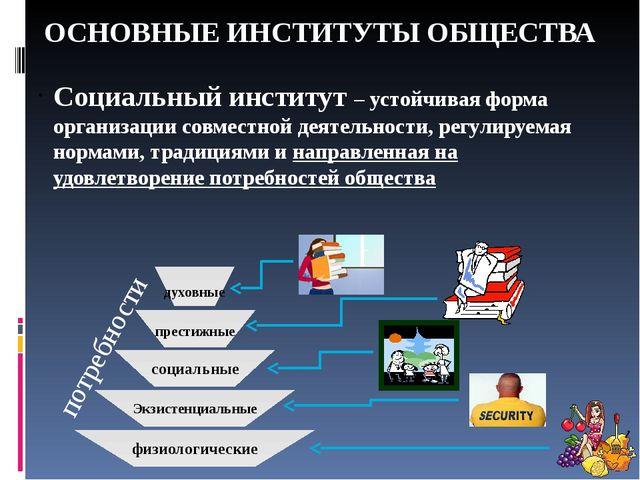 ОСНОВНЫЕ ИНСТИТУТЫ ОБЩЕСТВА Социальный институт – устойчивая форма организаци...