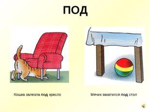 ПОД Кошка залезла под кресло Мячик закатился под стол