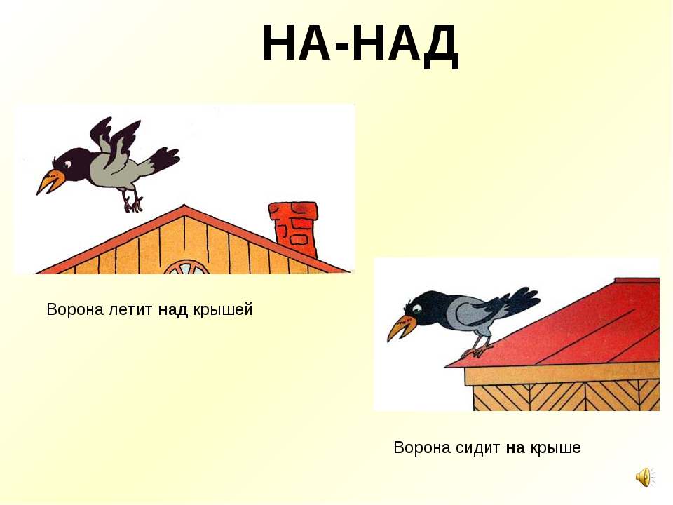 НА-НАД Ворона сидит на крыше Ворона летит над крышей