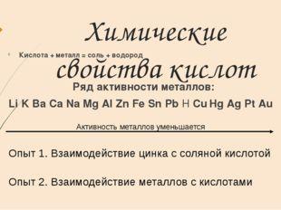 Химические свойства кислот Кислота + металл = соль + водород Ряд активности м