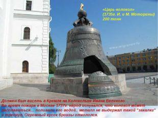 Должен был висеть в Кремле на Колокольне Ивана Великого. Во время пожара в Мо