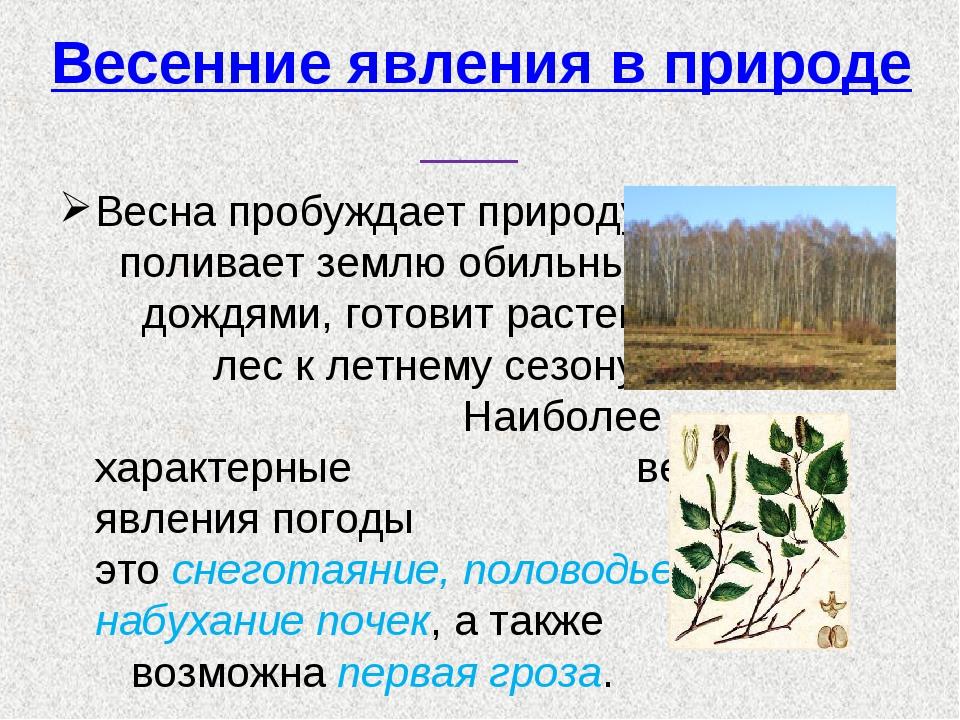 Весенние явления в природе Весна пробуждает природу, поливает землю обильными...