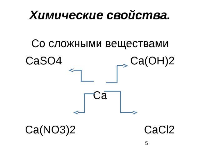 Со сложными веществами СаSO4 Са(ОН)2 Са Са(NО3)2 СаСl2 Химические свойства.