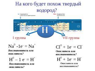 На кого будет похож твердый водород? Na0 -1e- = Na+ Восстановитель или окисл