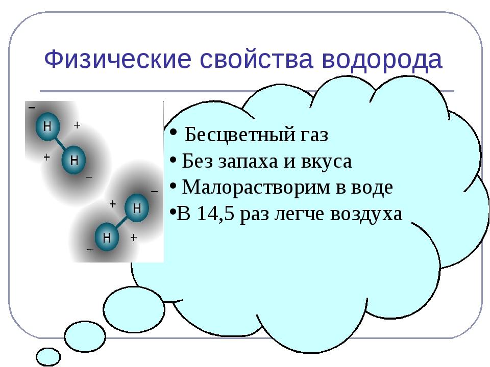 Физические свойства водорода Бесцветный газ Без запаха и вкуса Малорастворим...